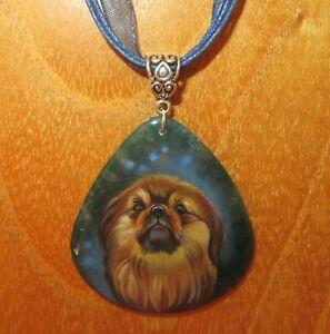 Pendant Pekingese DOG Russian Genuine Hand painted Stone signed Gorbachova GIFT