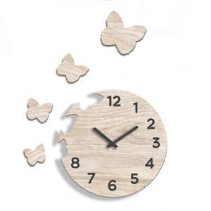 Orologio da parete soggiorno cucina con farfalle in legno design moderno rotondo