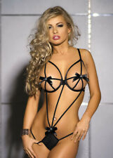 Women's Lingerie Nightwear Sexy Babydoll Lace G-string Bow Sleepwear Black