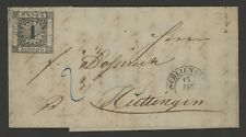 Baden Germany Stamp Scott #1 on January 1861 Cover, single Franking