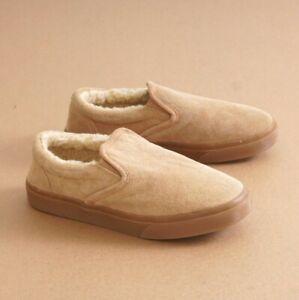 Minnetonka Alden Mens Lined Slippers Loafers Tan Suede Faux Fur Size 9M