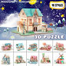 Wooden 3D DIY Jigsaw Puzzles Architecture Model Woodcraft Assembly Kids Toy UK