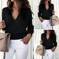 Womens Long Sleeve V Neck Knitted Sweater Casual Jumpers Crop Tops Knitwear 8-24
