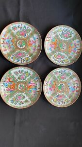 Four Antique 19th C. Chinese Famille Export Porcelain Plates