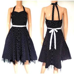 Polka Dot Dress 50,s Swing Style  Black White  Halter Neck Full Swoop skirt