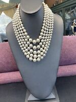 Vintage 5 Strand 1950's Pearl Beaded White graduated Statement Necklace Japan