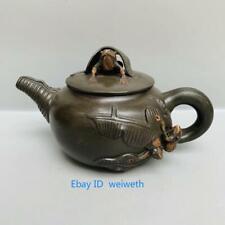 Vintage Chinese Green Yixing Zisha Hand-carved Frog Teapot Made By Jiang Rong