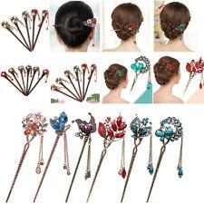 Chinese Style Metal Rhinestone Hair Chopsticks Stick Hairpin Chignon Pin