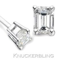 0.50ct Emerald Cut Certified F SI Diamond Solitaire Studs in 18ct White Gold