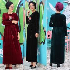 New Women Elegant Velvet Dress Winter Muslim Loose Abaya Kaftan Islamic Clothing