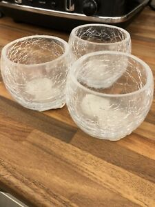 3x Bowl Crackle Glass Tea Light Candle Holder - Cracked Pattern Effect the range