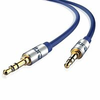 5m 3.5mm STEREO Jack to Jack Aux Cable Audio Auxiliary Lead PC Car BLUE GOLD