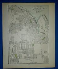 Vintage 1900 Atlas Map ~ TACOMA WASHINGTON ~ Old Original & Authentic ~ Free S&H