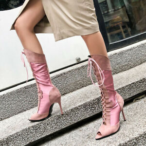 Casual Faux Leather Cross Strap Sandals Boots Sexy Super High Heel Women's Shoes