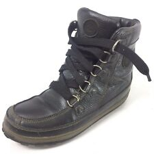 TIMBERLAND Mukluk Black Pebbled Leather Hi Top Hiking Shoes Boots 11 M Lace Up