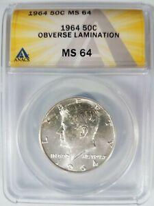 1964 KENNEDY Half Dollar ANACS MS 64 Obverse Lamination Mint Error Planchet