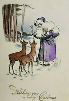 Santa Christmas Greeting Postcard Purple Robe Vintage German Original 1912