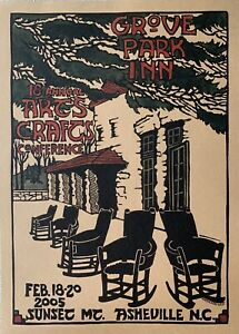 Grove Park Inn Arts & Crafts Conference Woodcut Poster 2005 from Kathleen West