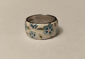 925 Silber Ring Blumenmotiv Damenring Emaille Gr. 53-54