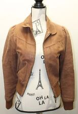 Atmosphere Brown Women Size 8 100% Leather Motorcycle Jacket Lined Spain