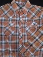 Panatela Mens Western Button Front Long Sleeve Plaid Shirt X Large XL