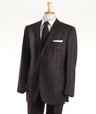 NWT $9450 KITON Chocolate Brown-Blue Windowpane Check 100% Cashmere Suit 42 R