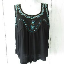 New Temptation By Angie Tank Top M Black Beaded Cropped Boho Festival Western