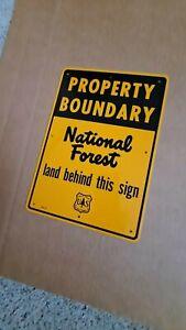 Vintage US Forest Service Metal Property Boundary National Forest Sign