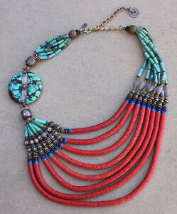 Vintage Masha Archer Turquoise & Coral Sterling 8 Strand Bead Chunky Necklace