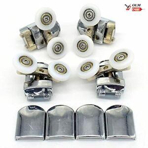 Lot de 4 Roulettes Doubles Ø23mm Roues pour Porte Cabine de Douche Salle de Bai