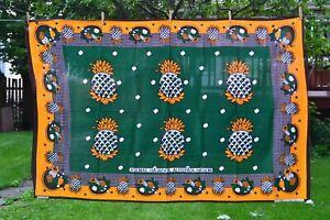 "East African Khanga Cotton Fabric, Pineapple Print on Green 44"" x 65"""