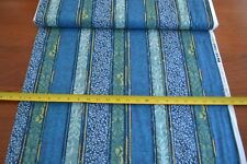 By 1/2 Yd, Blue, Green & Gold Striped Quilting Cotton, P&B/Persia/686-B, B621