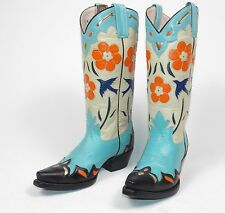 Rancho Loco Bluebird Cowboy Boots - Wm's 6.5B Blue Black Inlaid Overlays Caboots