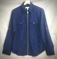 Womens~MICHAEL KORS~Blue & Black~LEOPARD PRINT~Zip Up~BLOUSE/TOP~SIZE SMALL~EUC