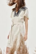 Madewell  Embroidered Paradise Dress in Stone NWT $158 Sz Xs #f3398 NEW