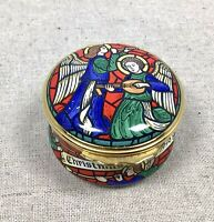 Halcyon Days Christmas 1998 Enameled Trinket Pill Box Case Stained Glass Angels