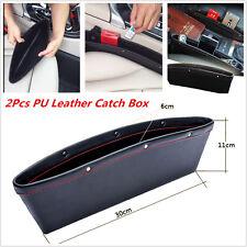 2Car Seat Slit Pocket Storage Organizer Black PU Leather Catch Catcher Box Caddy