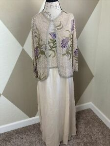 Lawrence Kazar Formal Beaded Silk Gown with Jacket Size 14 Beige Purple Floral