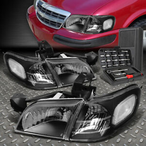 FOR 97-05 CHEVY VENTURE MONTANA BLACK HOUSING CLEAR CORNER HEADLIGHT+TOOL SET