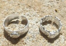 Set of 2 Indian style silver tone toe rings adjustable ~ Bollywood belly dance