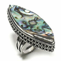 Natural Abalone Shell Women Jewelry 925 Sterling Silver Ring Size 7 JQ44371