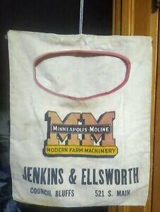RARE 1950s MINNEAPOLIS-MOLINE Dealership CLOTHES PIN BAG...Council Bluffs, Iowa