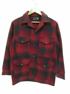 PENDLETON Authentic 1970's Vintage Wool Check Jacket Red Size s Used from Japan