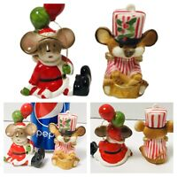 Lot of 2 Vtg Christmas Mice with Balloons & Drummer Figure Ornament Lefton ?