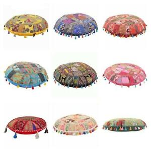 Pouffe Cover Indian Handmade Round Vintage Cotton Footstool Patchwork Ottoman