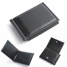 Men Bifold Genuine Leather Slim Wallet Money Clip ID Credit Card Holder, Black