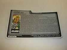 GI JOE PSYCHE OUT FILE CARD Vintage Action Figure HALF CUT AWESOME SHAPE 1987