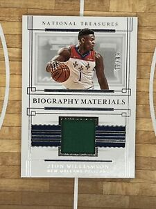 2020/21 Panini National Treasures Biography Materials patch Zion Williamson /99