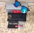 Ray Ban RB 3016 1145/17 Blue Flash Clubmaster Matte Havana/Gold Sunglasses 49mm