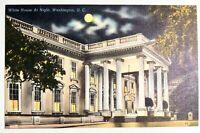 "Vintage DC Postcard ""The White House at Night Washington"" News Co. 1953"